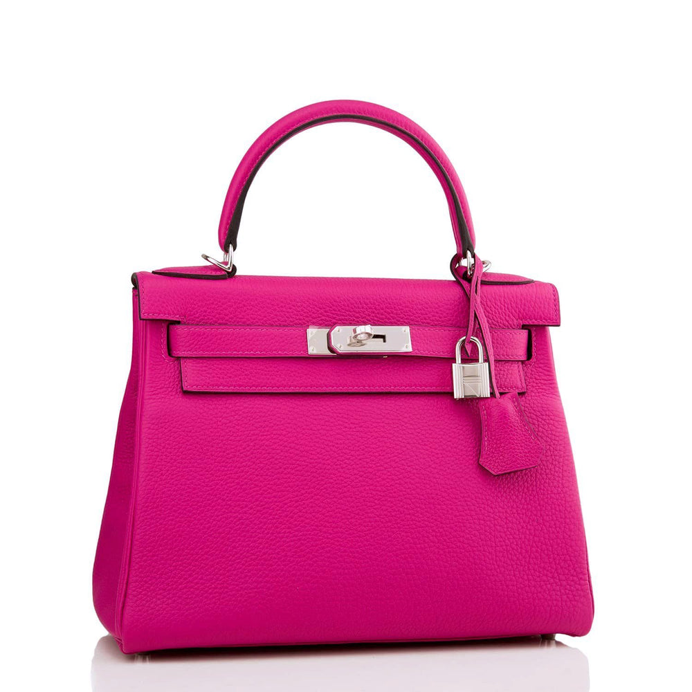 Hermes Rose Pourpre Togo Kelly 28Cm Palladium Hardware Handbags