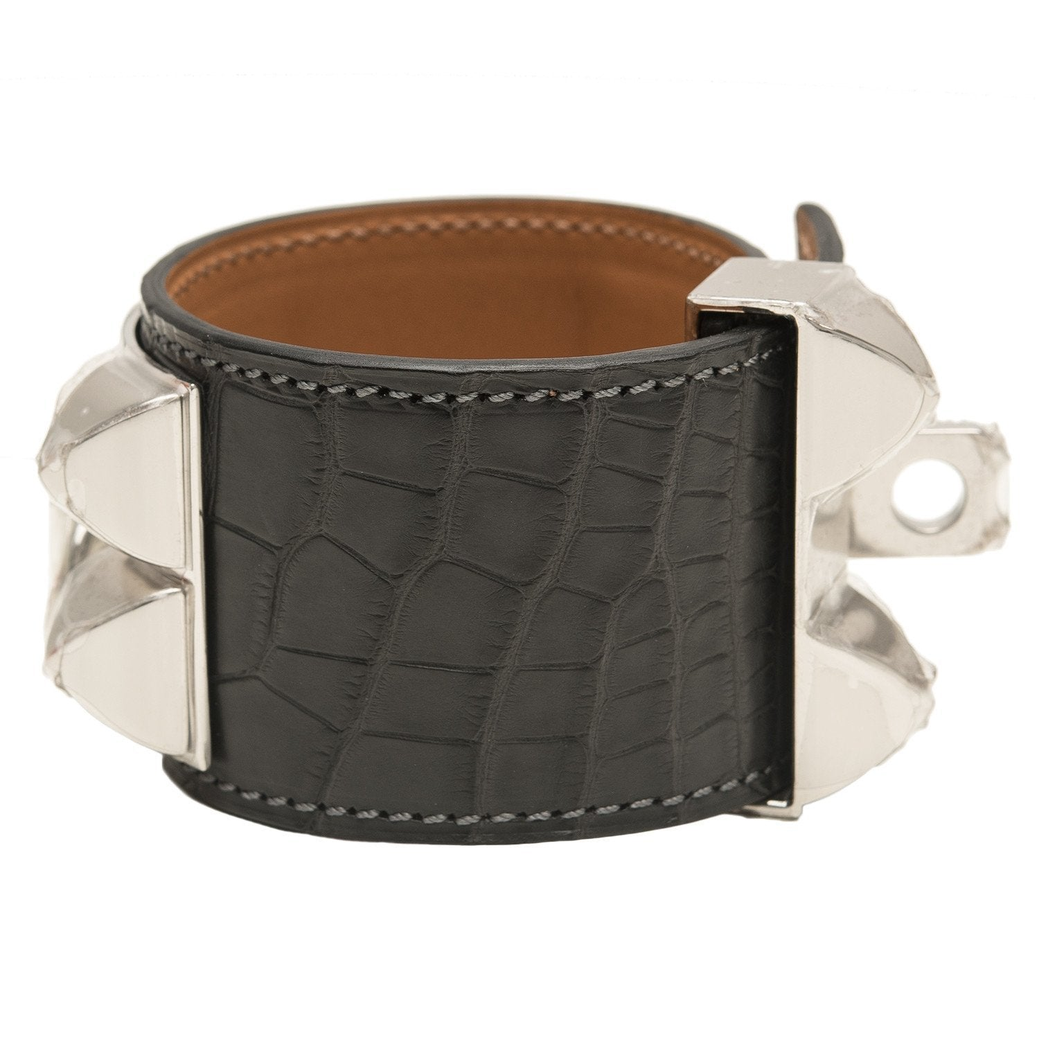 Hermes Graphite Matte Alligator Collier De Chien Cdc Small Bracelet Accessories
