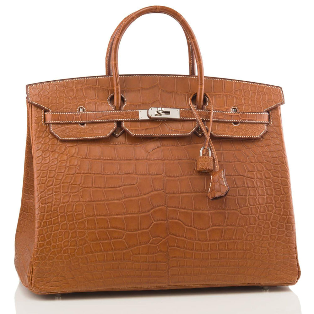 Hermes Fauve Barenia Matte Alligator Birkin 40Cm Palladium Hardware Preloved Mint Handbags