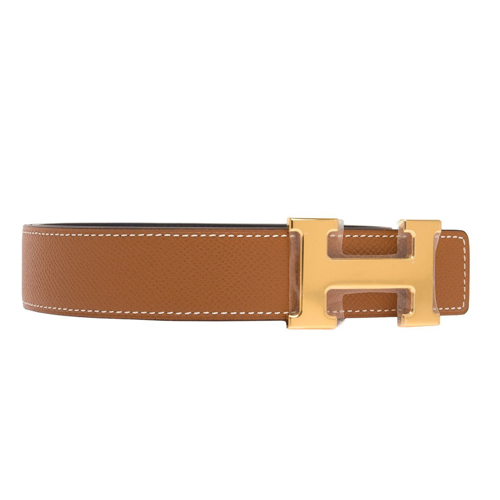 Hermes 32Mm Reversible Blackgold Leather Constance H Belt 90Cm Gold Buckle Accessories