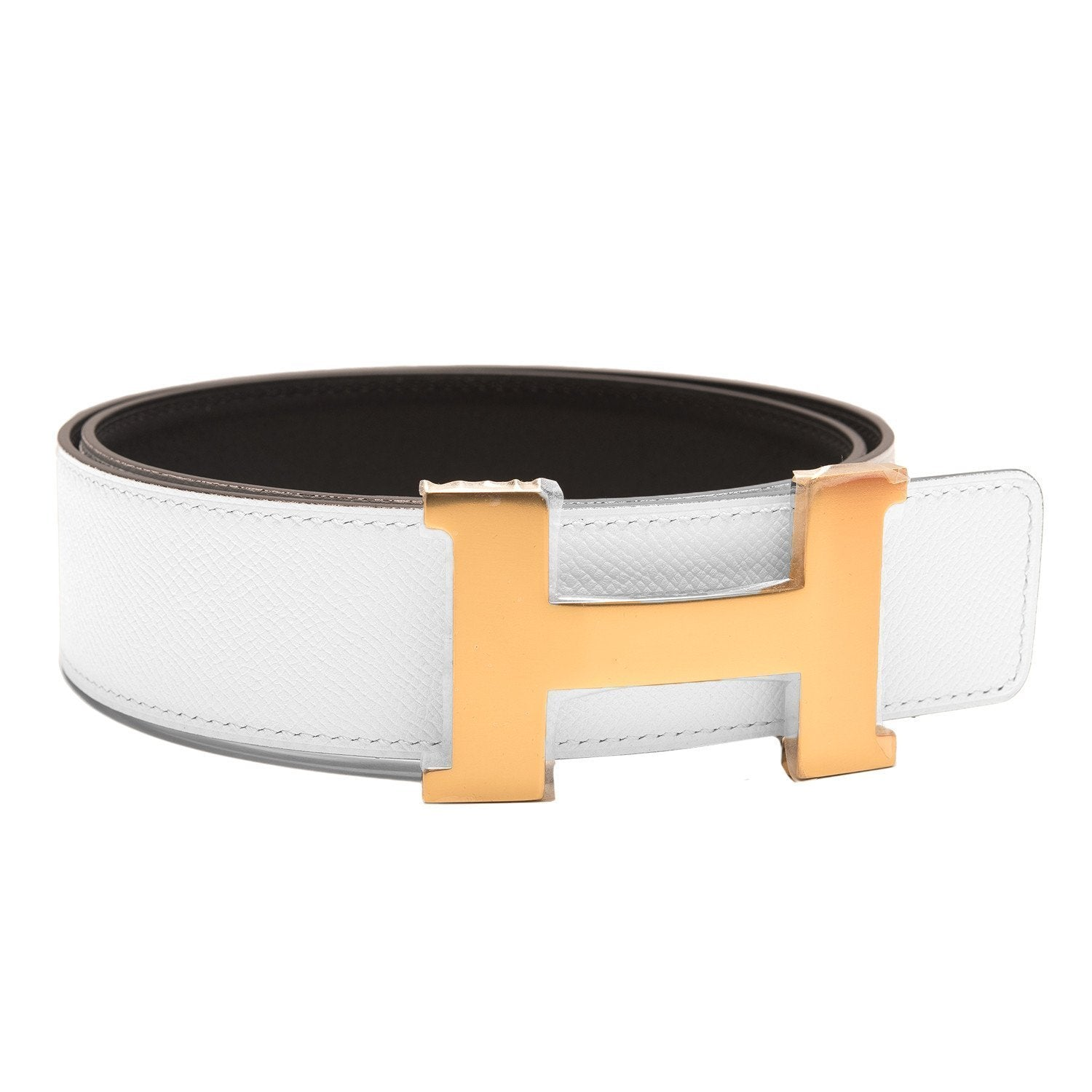 Hermes 42Mm Reversible Blackwhite Constance H Belt 85Cm Gold Buckle Accessories