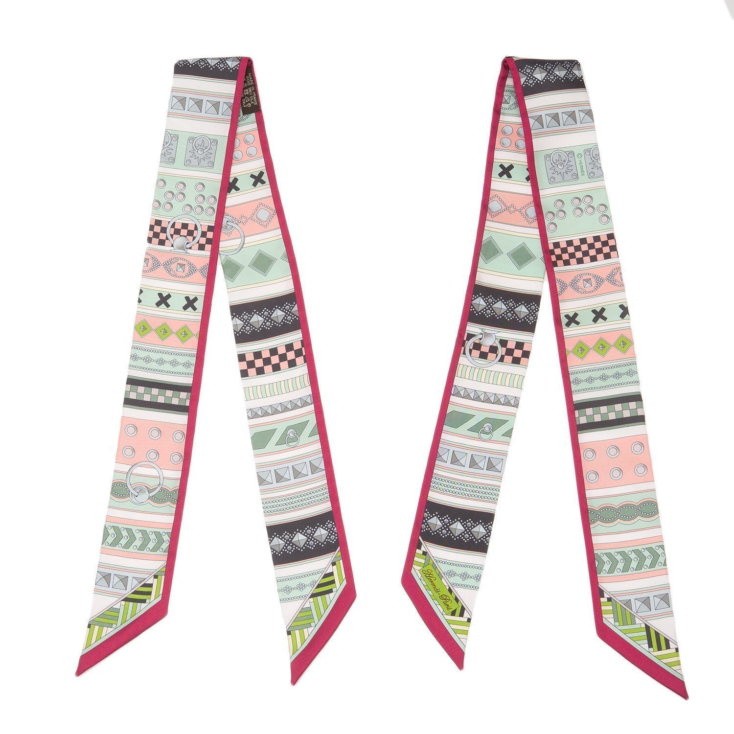 Hermes Colliers De Chiens Silk Twilly Pair Scarves
