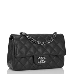 Chanel Black Iridescent Quilted Caviar Rectangular Mini Classic Flap Bag