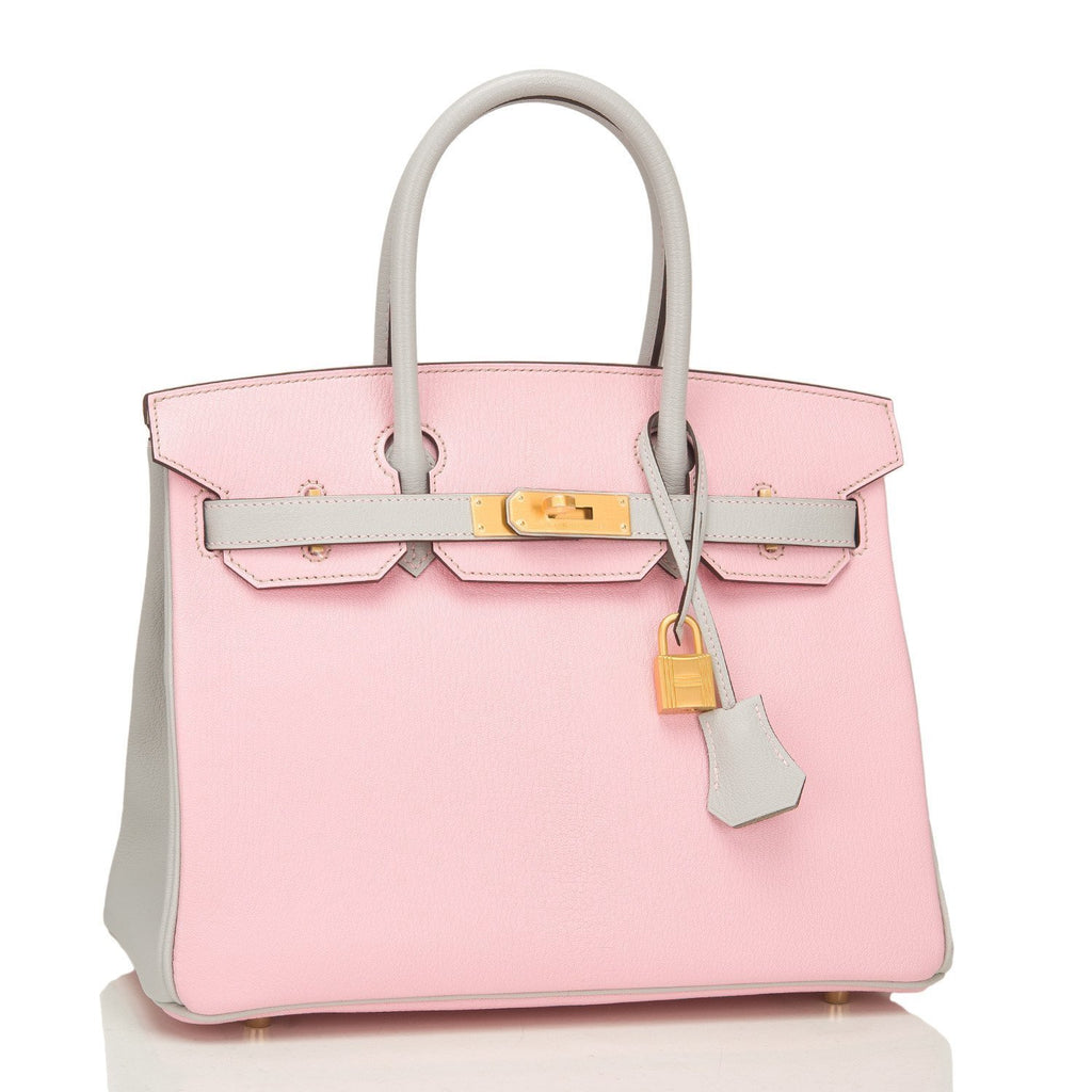 Hermes Hss Gris Perle And Rose Sakura Chevre Mysore Birkin 30Cm Brushed Gold Hardware Handbags