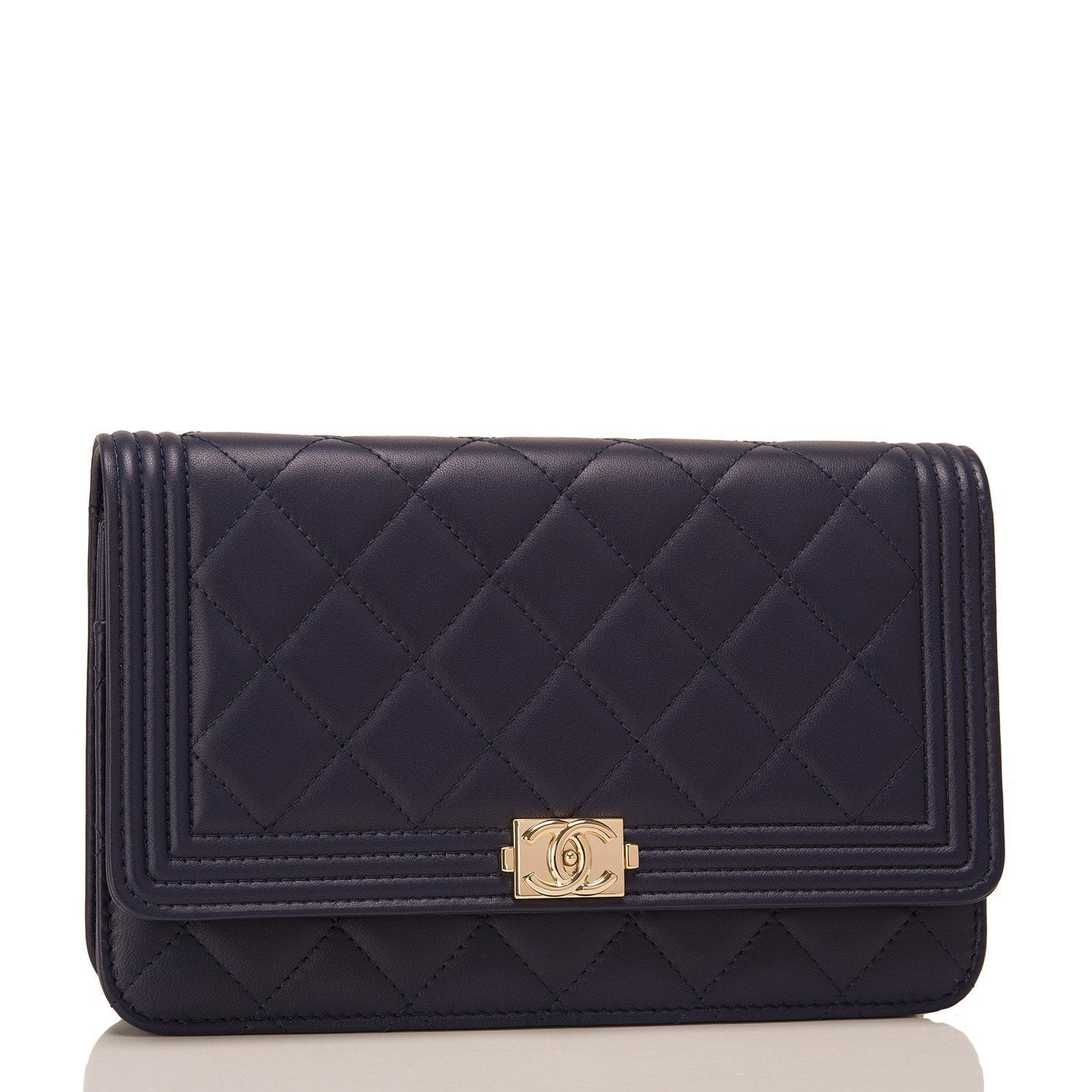 Chanel Navy Quilted Lambskin Boy Wallet On Chain Woc Handbags