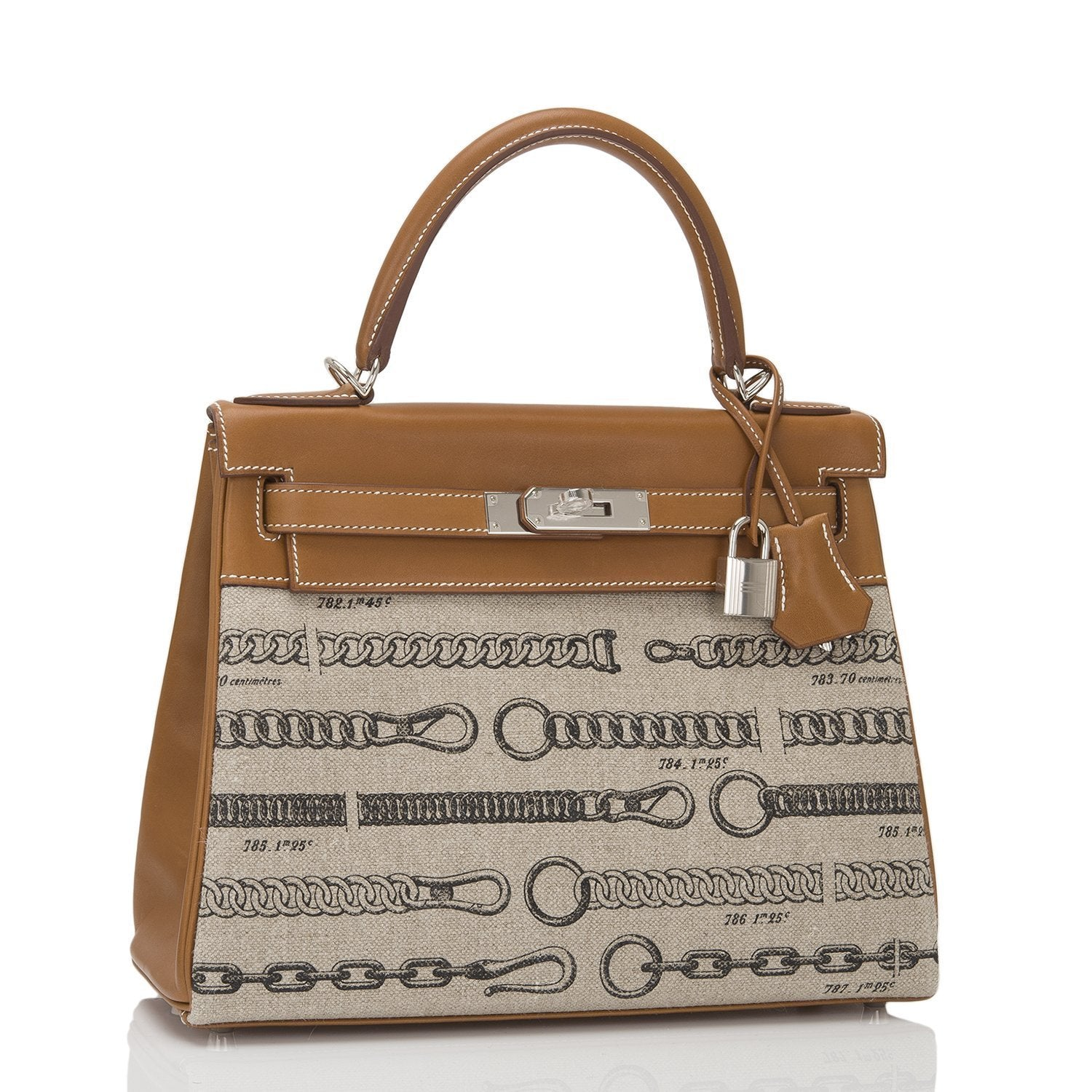 Hermes Dechainee Toile De Camp And Fauve Barenia Kelly 28Cm Handbags