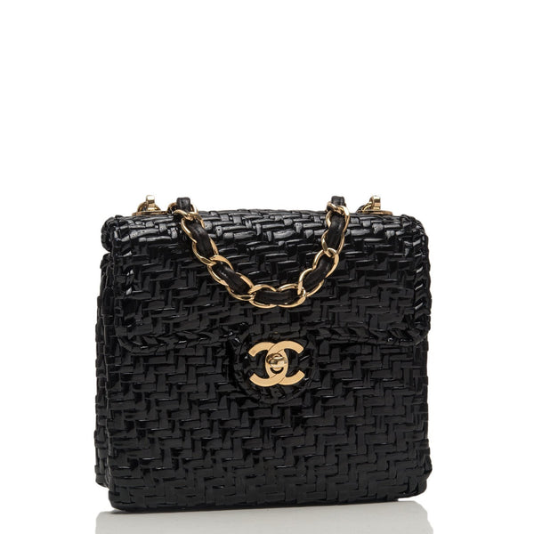 Chanel Vintage Glazed Black Wicker Mini Flap Bag Preloved Excellent Handbags
