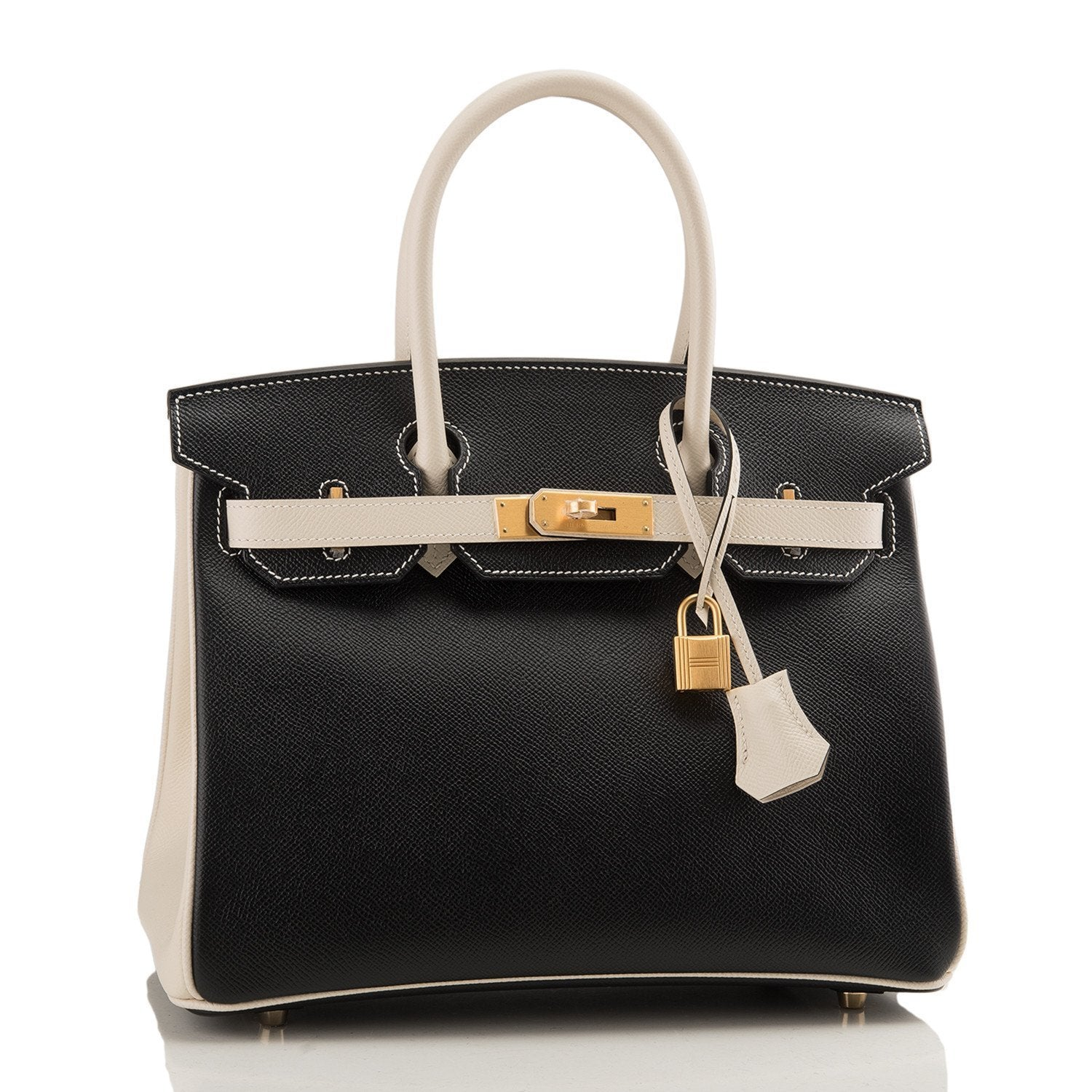 Hermes Hss So Bi Color Black And Craie Epsom Birkin 30Cm Brushed Gold Hardware Handbags