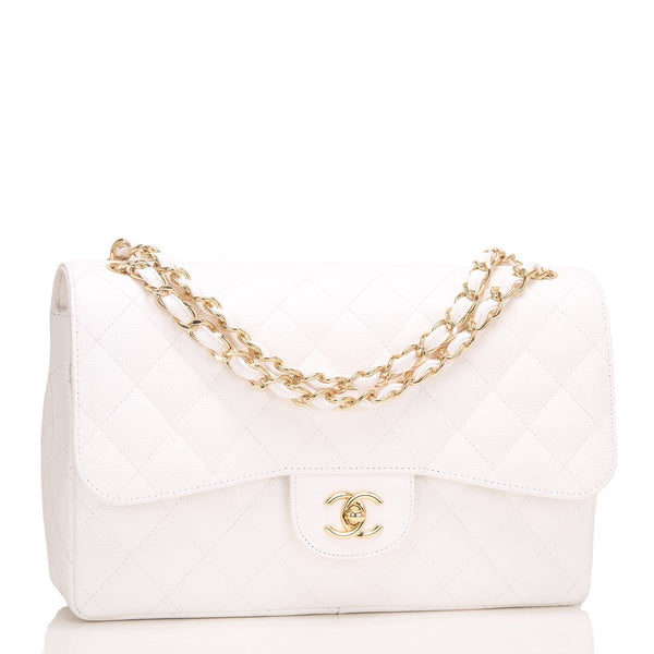 8ee3895baacb Chanel White Quilted Caviar Jumbo Classic Flap Bag – Madison Avenue ...