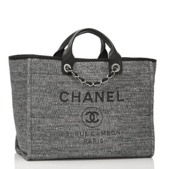 Chanel Large Charcoal Canvas Deauville Tote