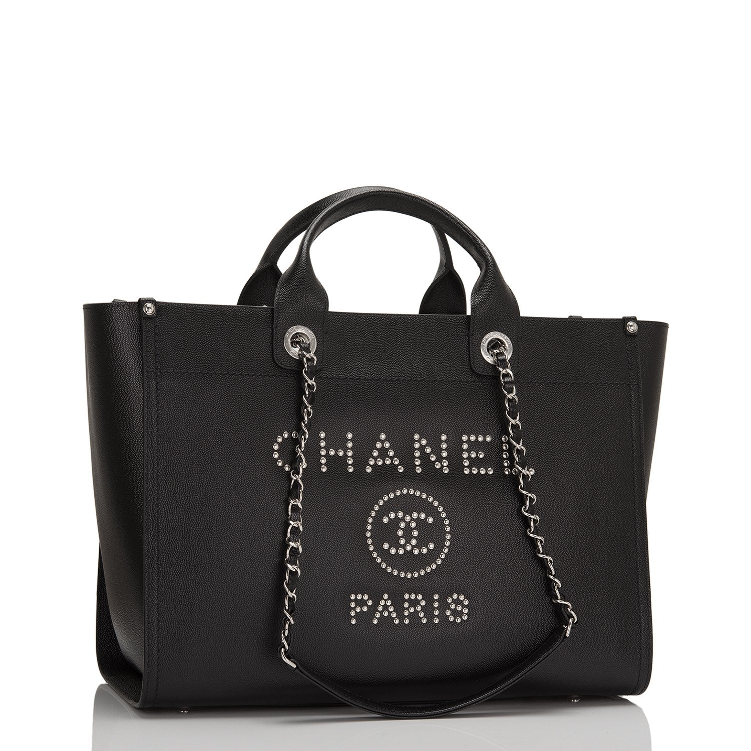 d4c5f56b7348 Chanel Deauville Tote Black Leather. Chanel Black Leather Large Deauville  Shopping ...