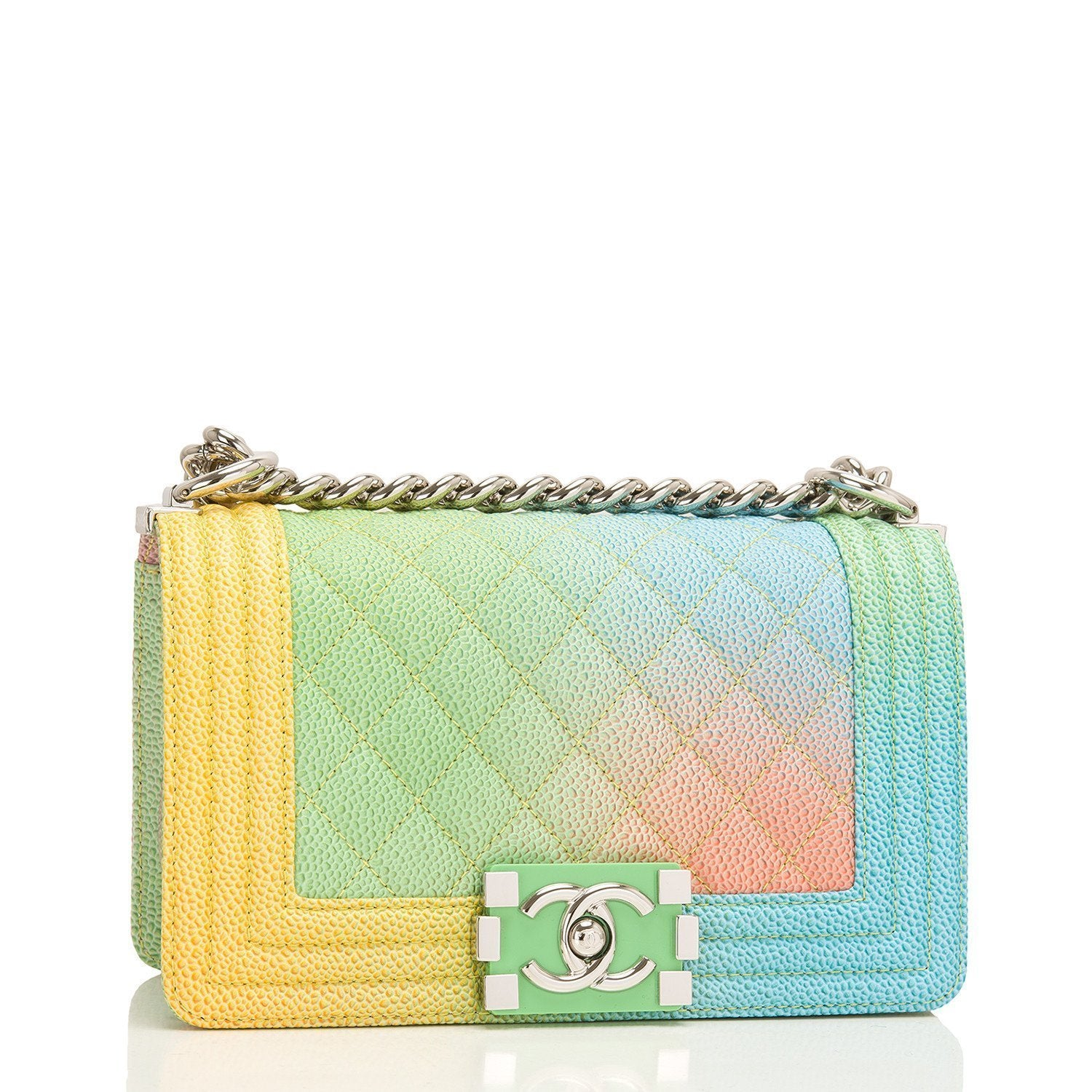 Chanel Rainbow Printed Caviar Small Boy Bag Handbags