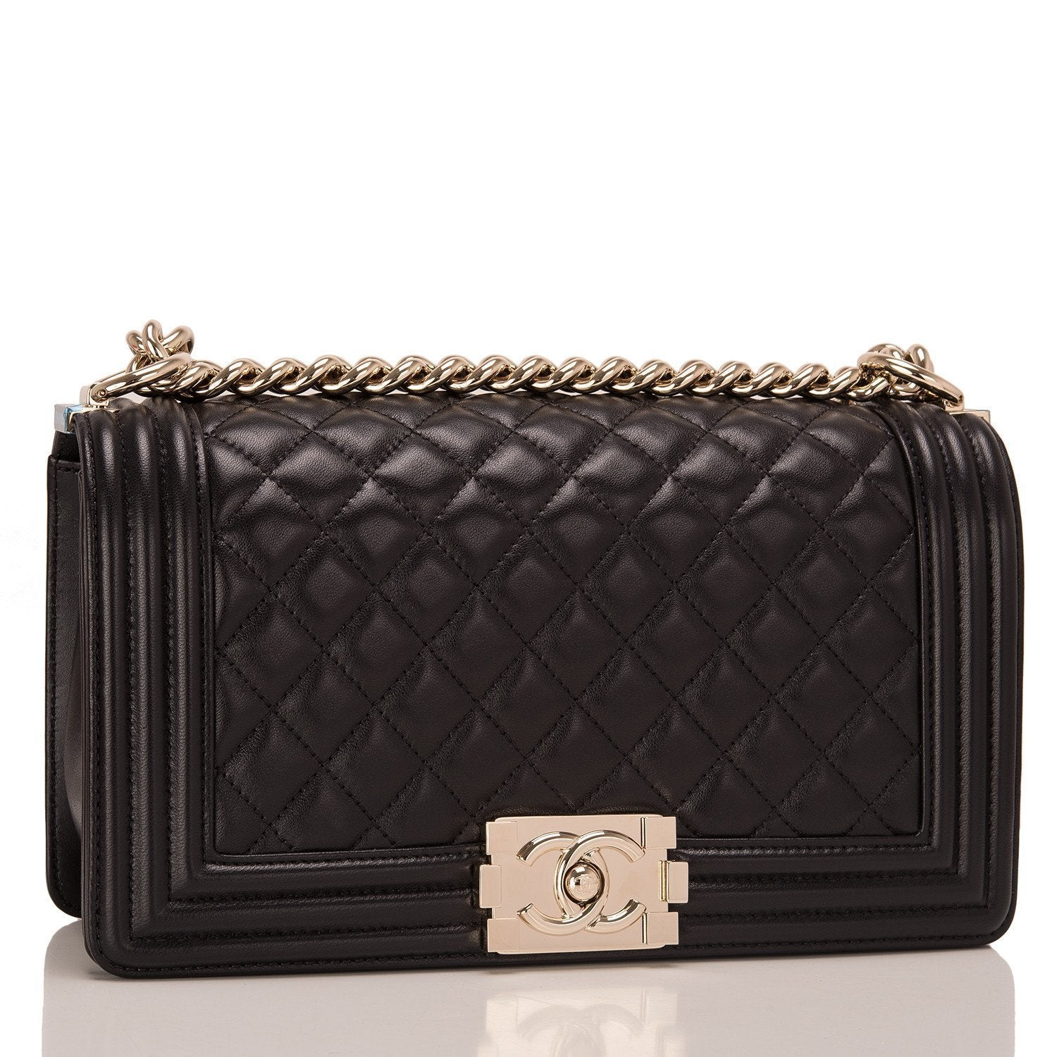 Chanel Black Lambskin Medium Boy Bag Handbags