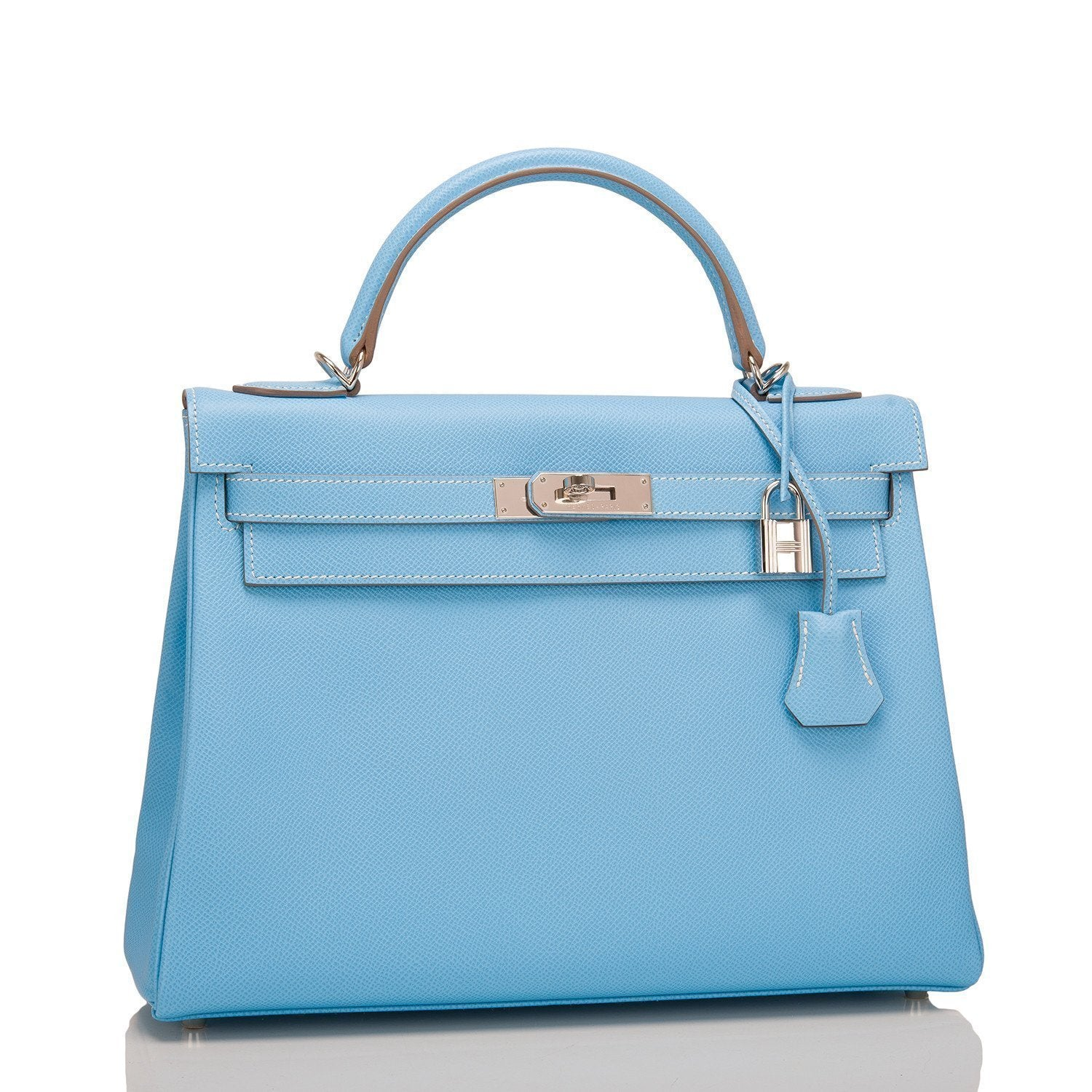 52c7ab2c7a Hermes Bi-color Celeste and Mykonos Epsom Retourne Candy Kelly 32cm –  Madison Avenue Couture
