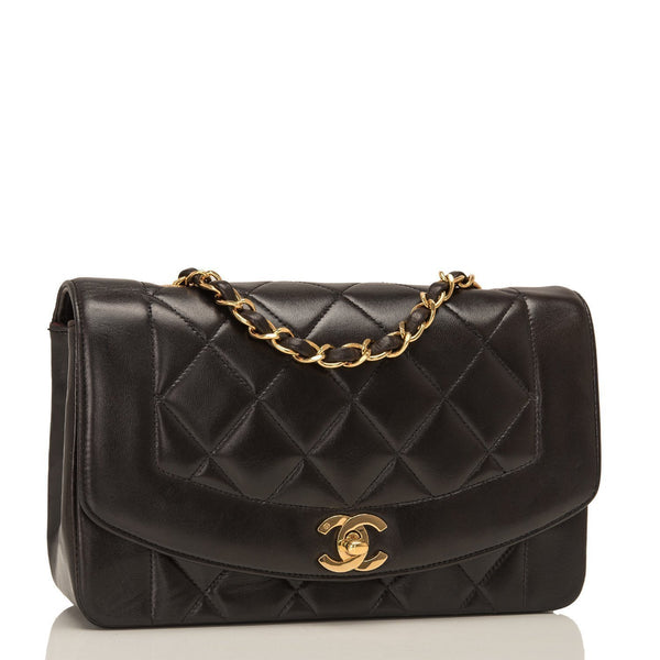 c583f7ab4d9a ... Chanel Vintage Black Quilted Lambskin Diana Single Flap Bag Pre Loved  Handbags ...