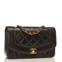 Chanel Vintage Black Quilted Lambskin Diana Single Flap Bag Pre Loved Handbags