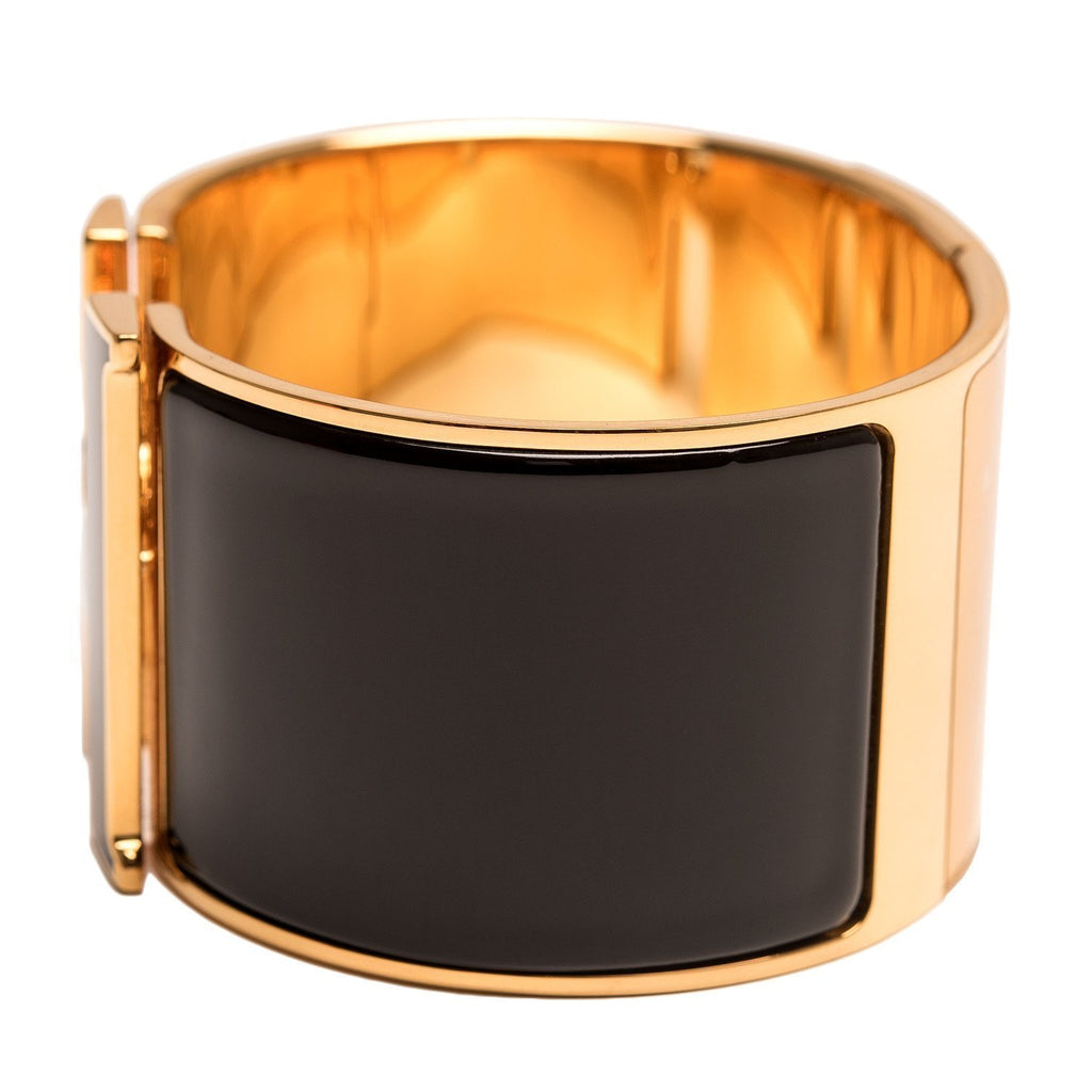 Hermes Black With Lacquer H Clic Clac Extra Wide Enamel Bracelet Pm Accessories