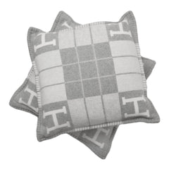 Hermes Avalon Iii Ecru And Light Grey Signature H Cushion Pm Set Of Two Pillow