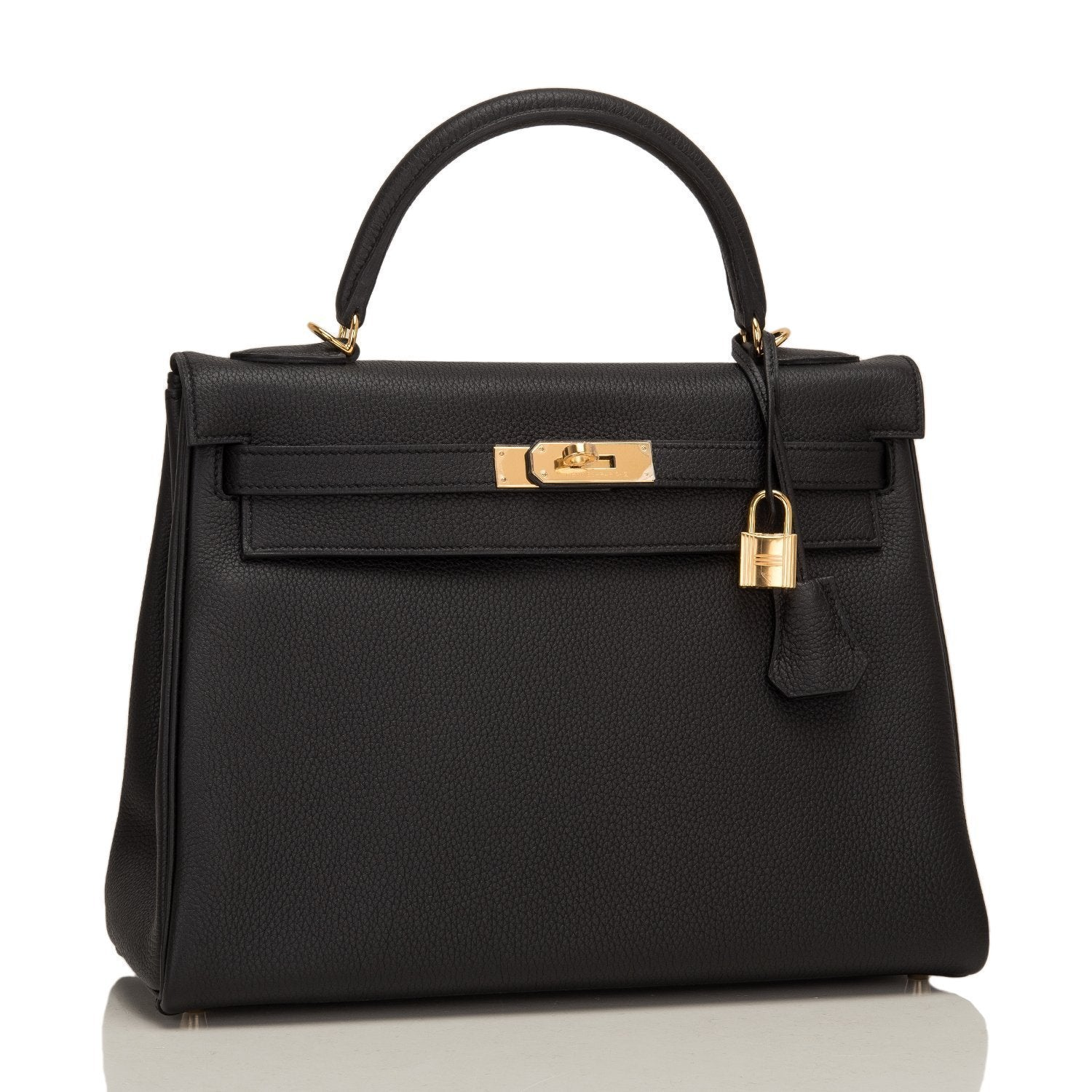 Hermes Black Togo Kelly 32Cm Gold Hardware Handbags