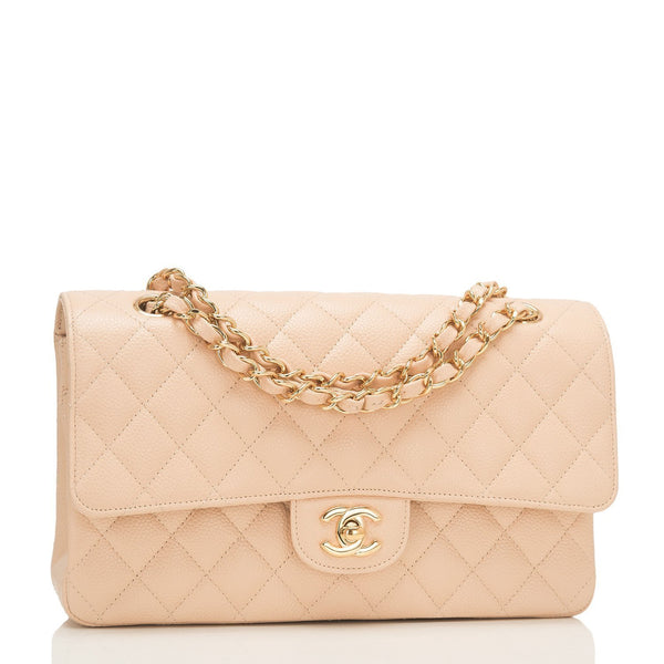 Chanel Beige Quilted Caviar Medium Classic Double Flap Bag Handbags