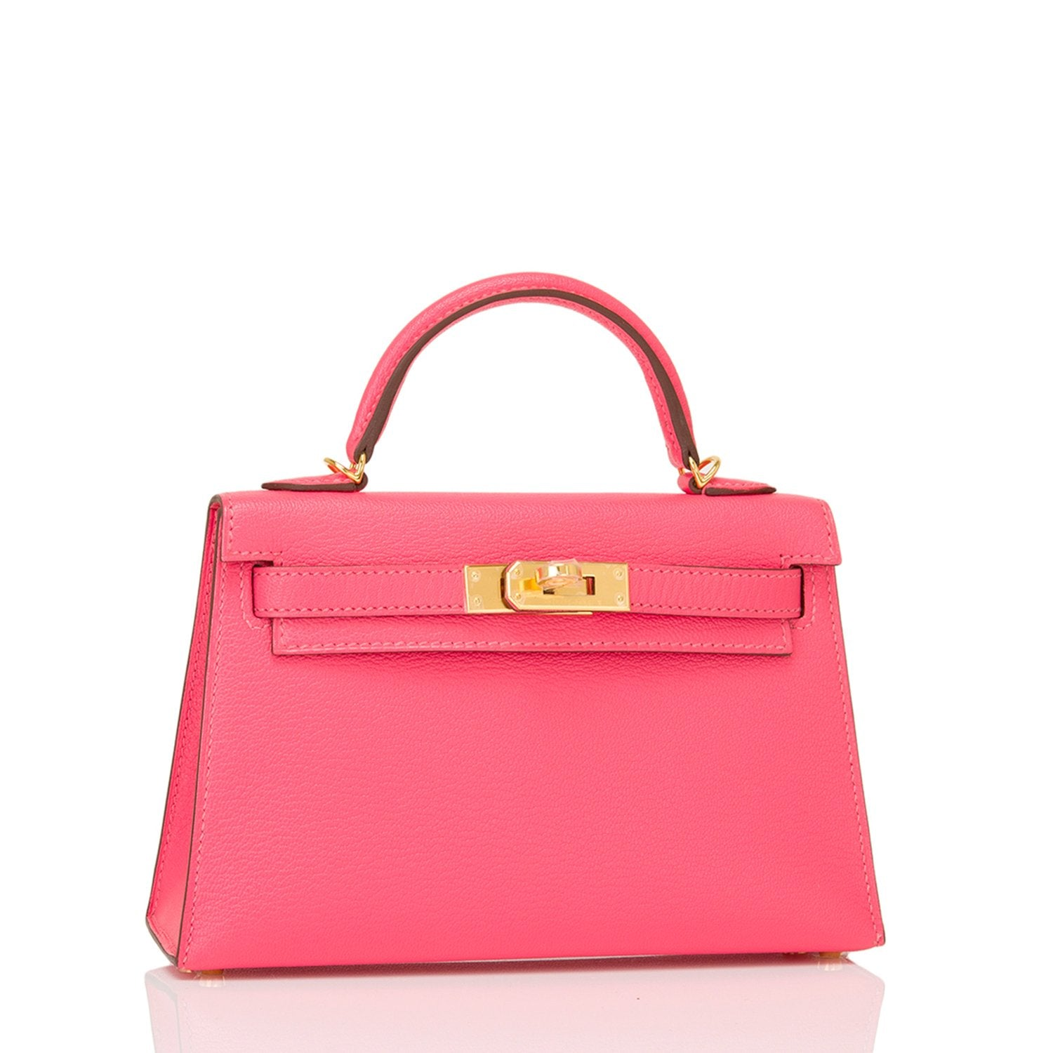 Hermes Rose Lipstick Chevre Mysore Kelly 20cm Gold Hardware