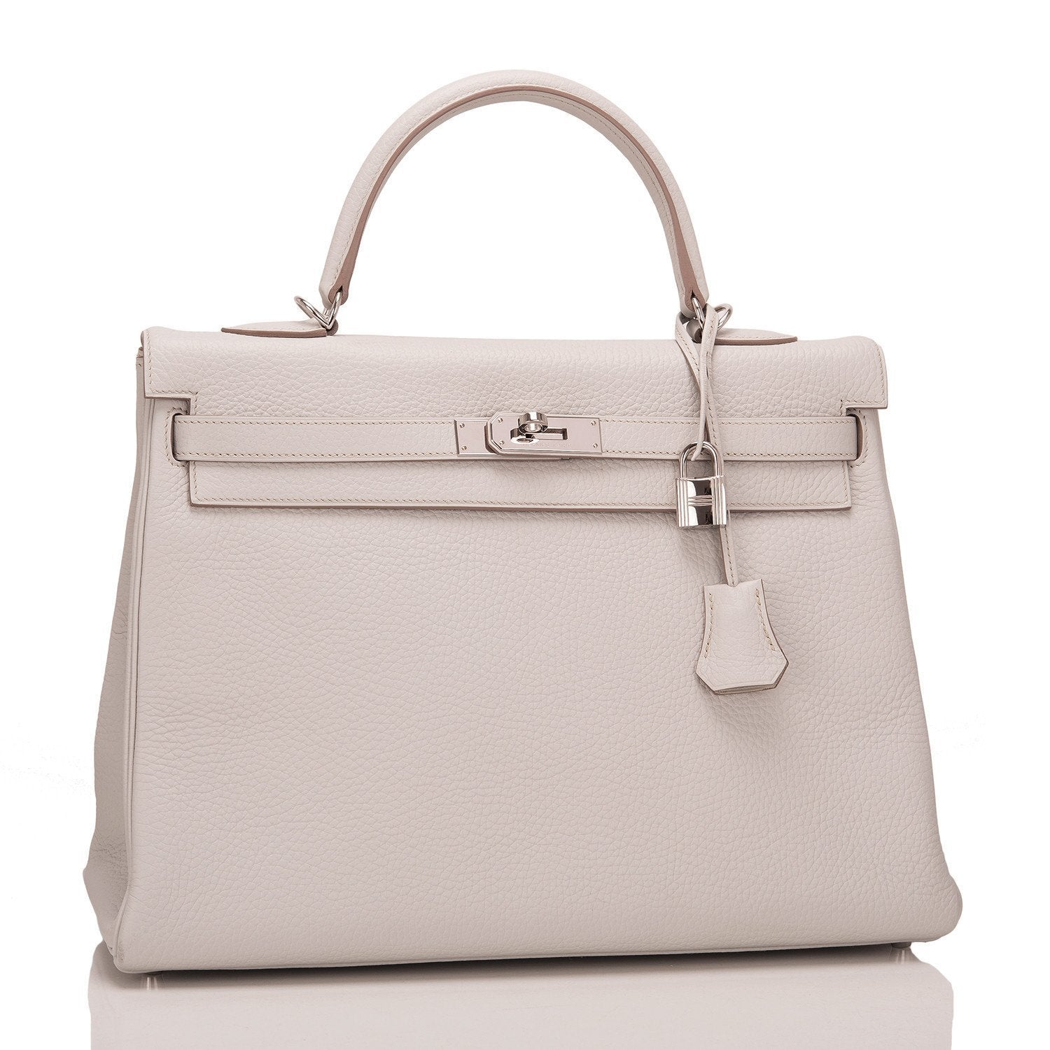 9403aff10b8 Hermes Gris Perle Clemence Kelly 35cm Palladium Hardware (Preloved - E –  Madison Avenue Couture