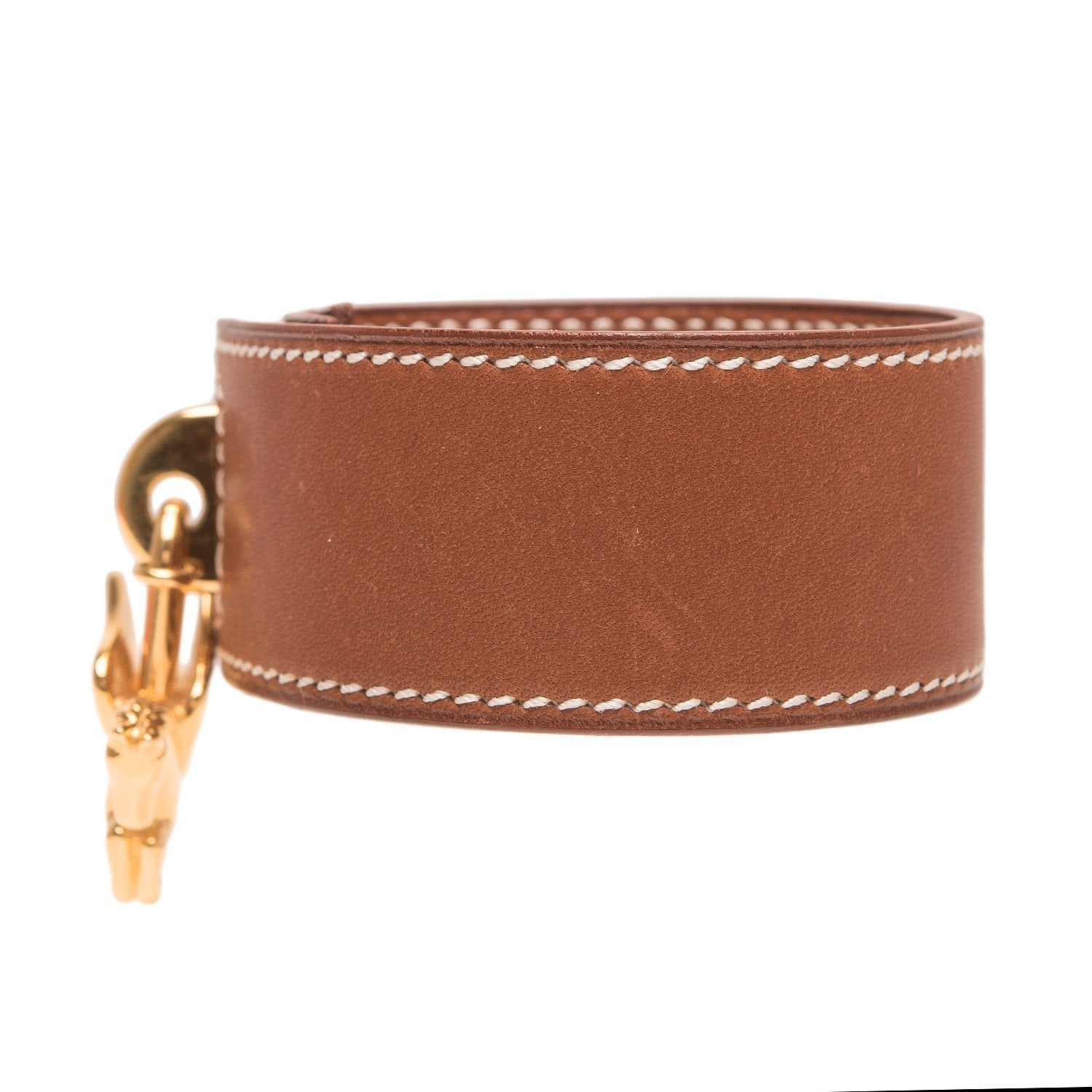 Hermes Gold Barenia Leather Bracelet With Pegasus Charm Accessories