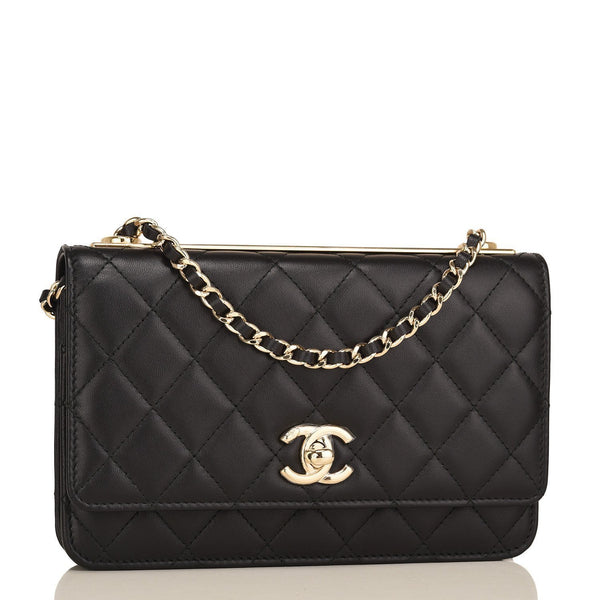262abe0f32a5 Chanel Black Quilted Lambskin Trendy CC Wallet On Chain (WOC ...