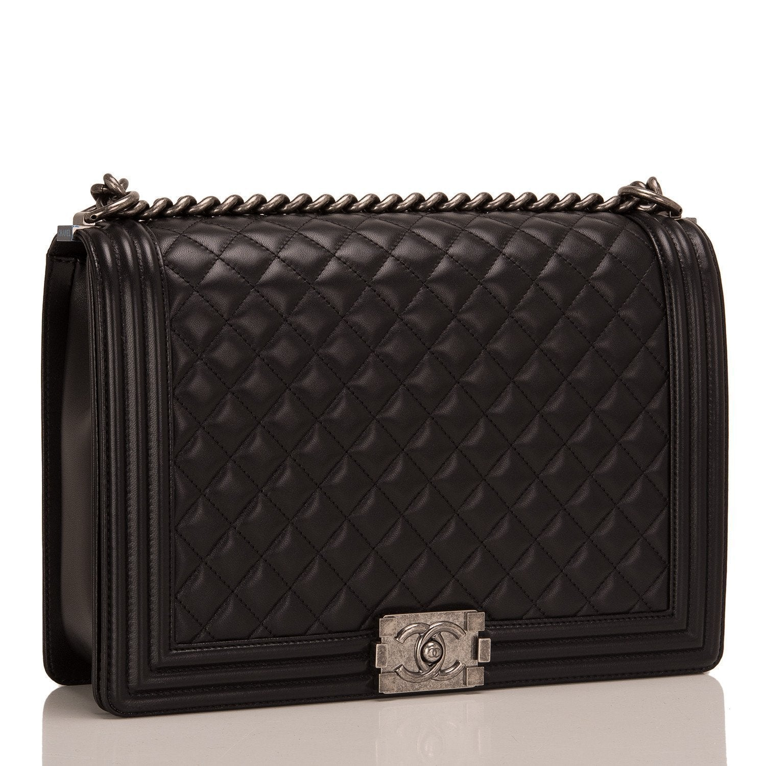 e55680ca904f Chanel Black Quilted Lambskin Large Boy Bag – Madison Avenue Couture