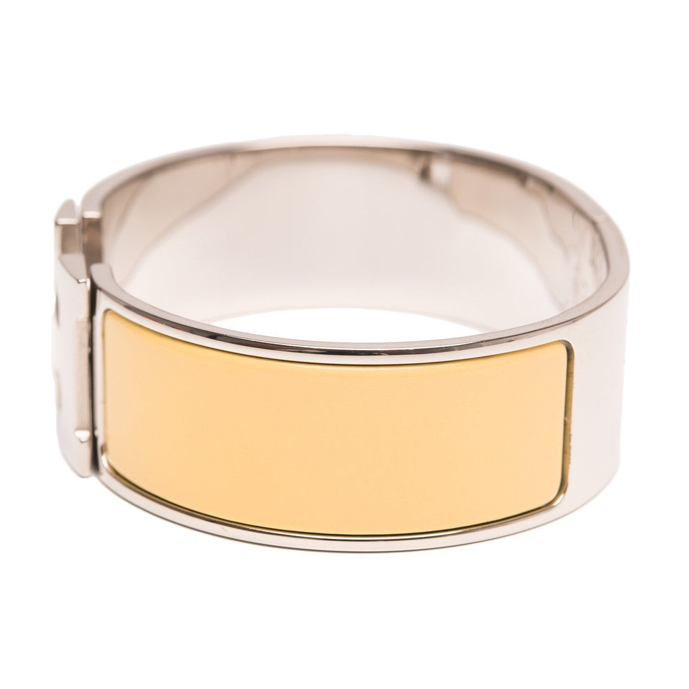 Hermes Light Yellow Clic Clac H Wide Enamel Bracelet Gm Accessories