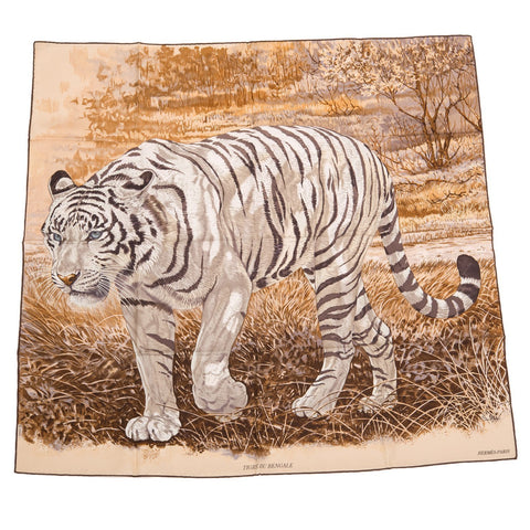 Hermes Tigre Du Bengale Silk Twill Scarf 90Cm Scarves