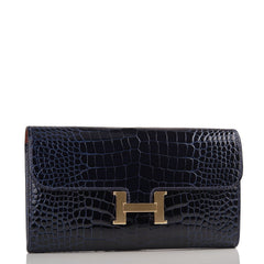 Hermes Blue Marine Alligator Constance Long Clutch Wallet Handbags