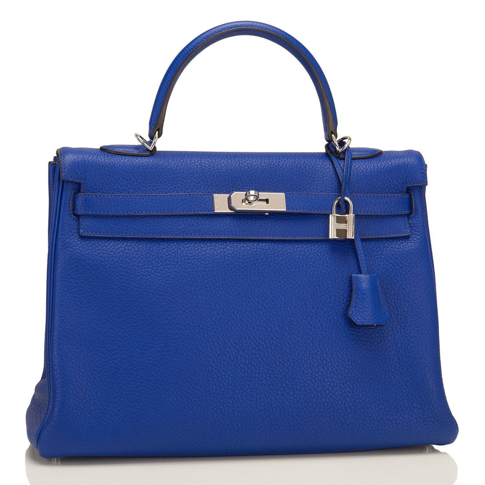 Hermes Electric Blue Togo Retourne Kelly 35Cm Palladium Hardware Pre Loved Handbags