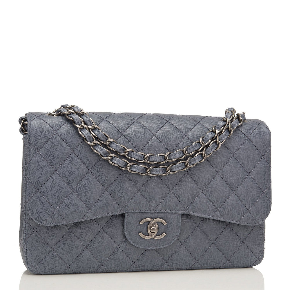 Chanel Slate Grey Quilted Caviar Jumbo Classic Double Flap Bag Handbags