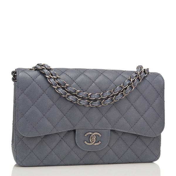 e0553292917 Chanel Slate Grey Quilted Caviar Jumbo Classic Flap Bag – Madison ...