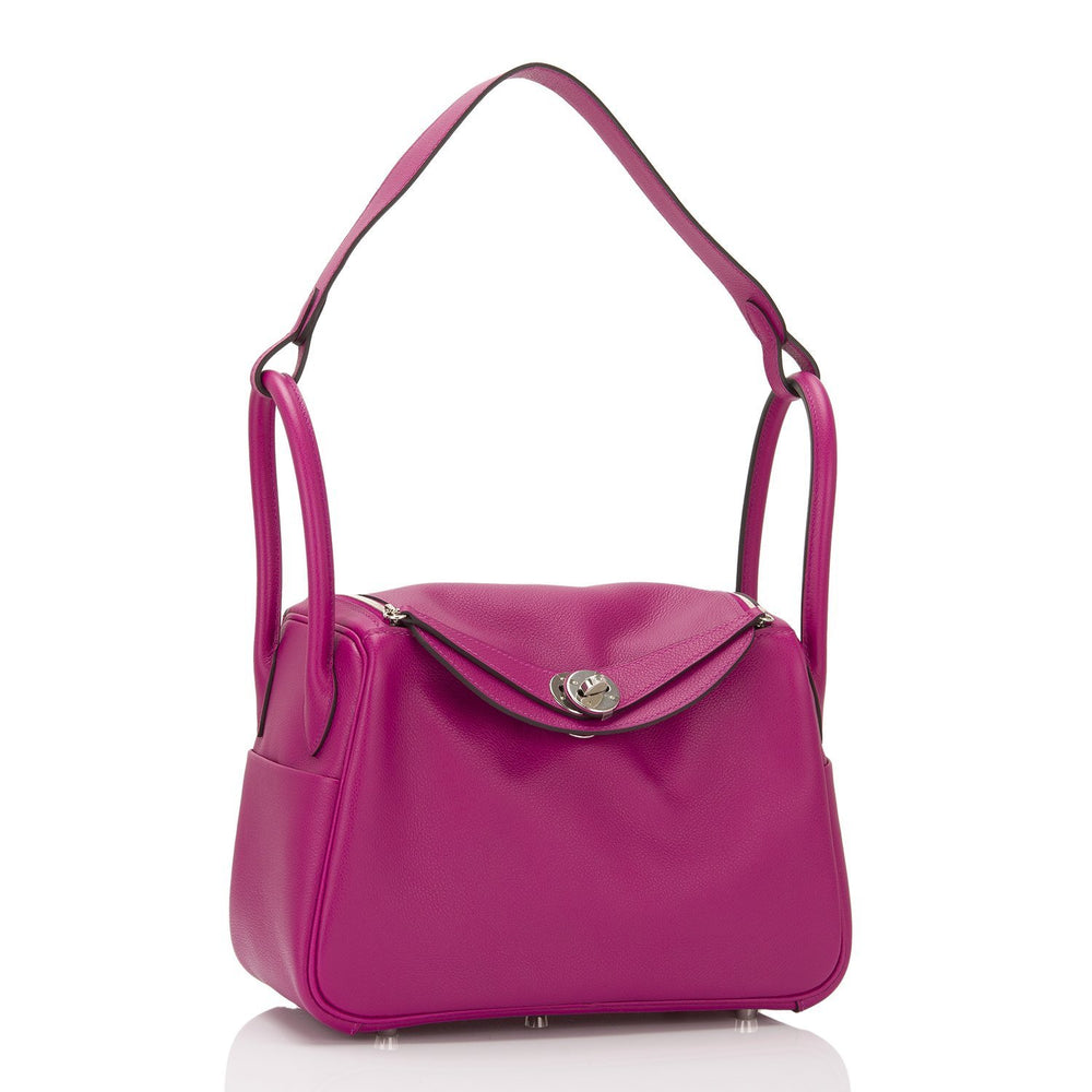Hermes Rose Pourpre Evercolor Lindy 26Cm Palladium Hardware Handbags