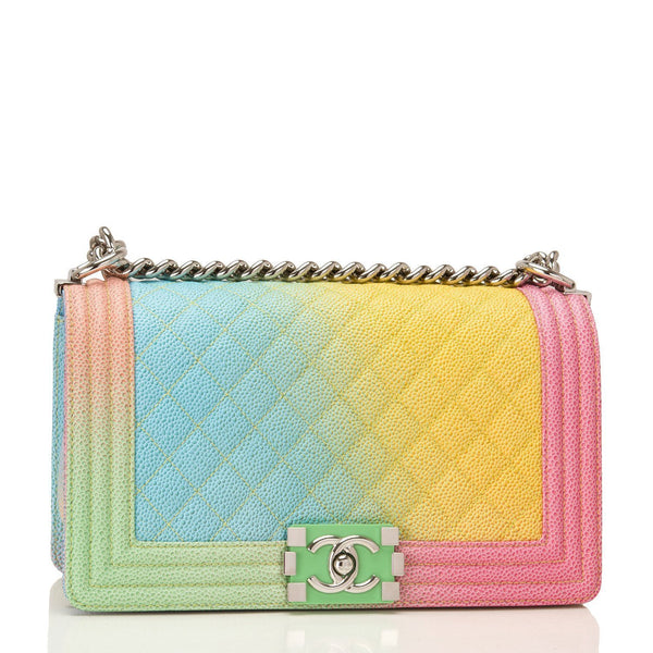 Chanel Rainbow Printed Caviar Medium Boy Bag Handbags