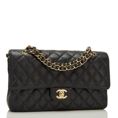 Chanel Black Quilted Caviar Medium Classic Double Flap Bag Gold Hardware
