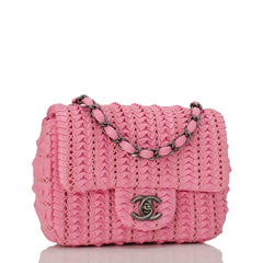 Chanel Pink Embroidered Lambskin Square Mini Flap Bag Handbags