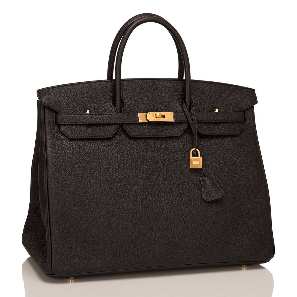 Hermes Hss Black And Indigo Togo Birkin 40Cm Brushed Gold Hardware Handbags