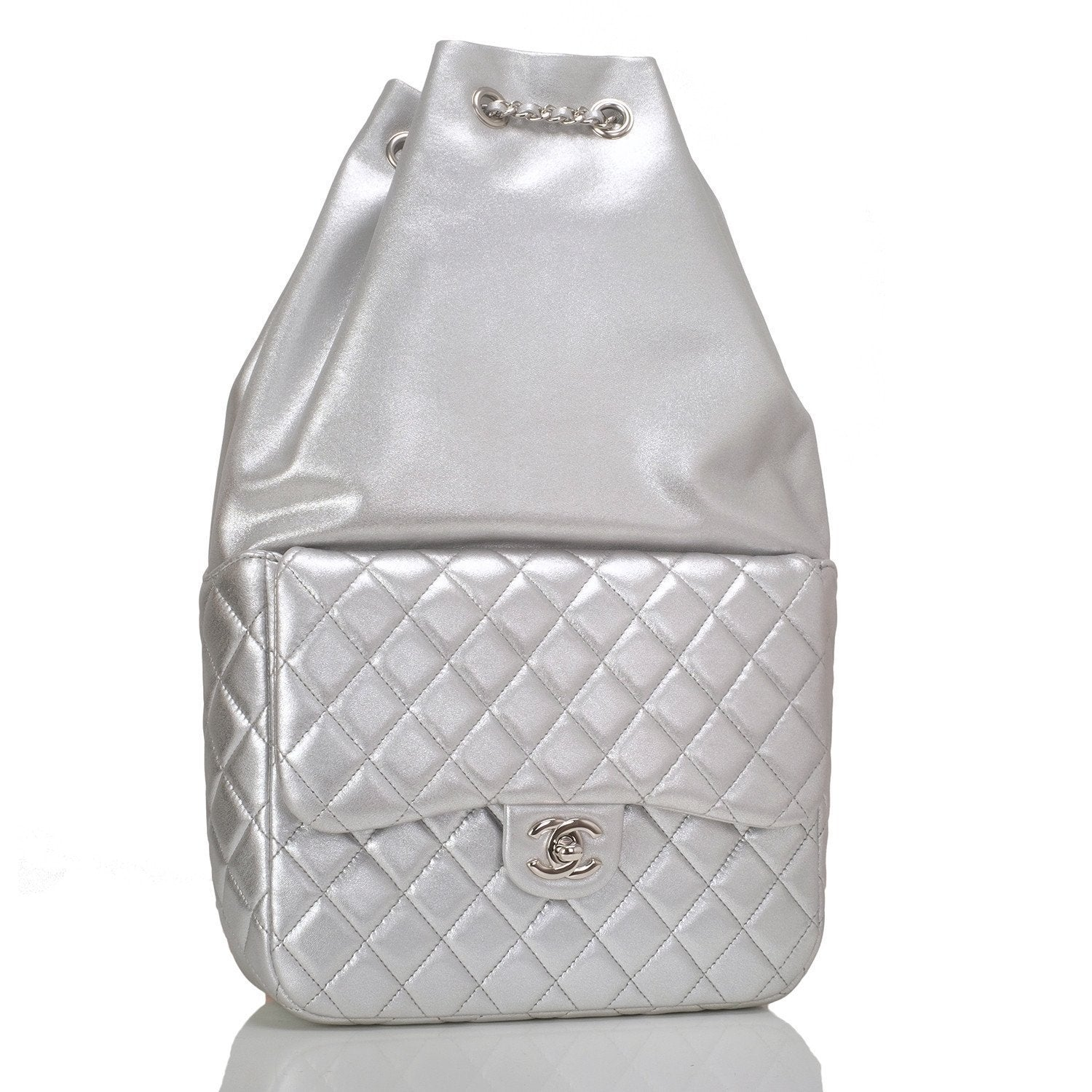 Chanel Silver Metallic Lambskin Large Backpack Handbags