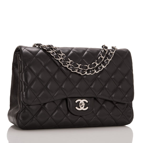 e0c6cbf076af8b Chanel Black Quilted Lambskin Jumbo Single Flap Bag – Madison Avenue ...