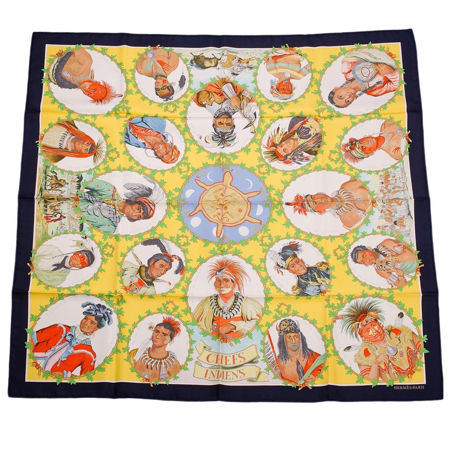 Hermes Chefs Indiens Silk Twill Scarf 90Cm Scarves