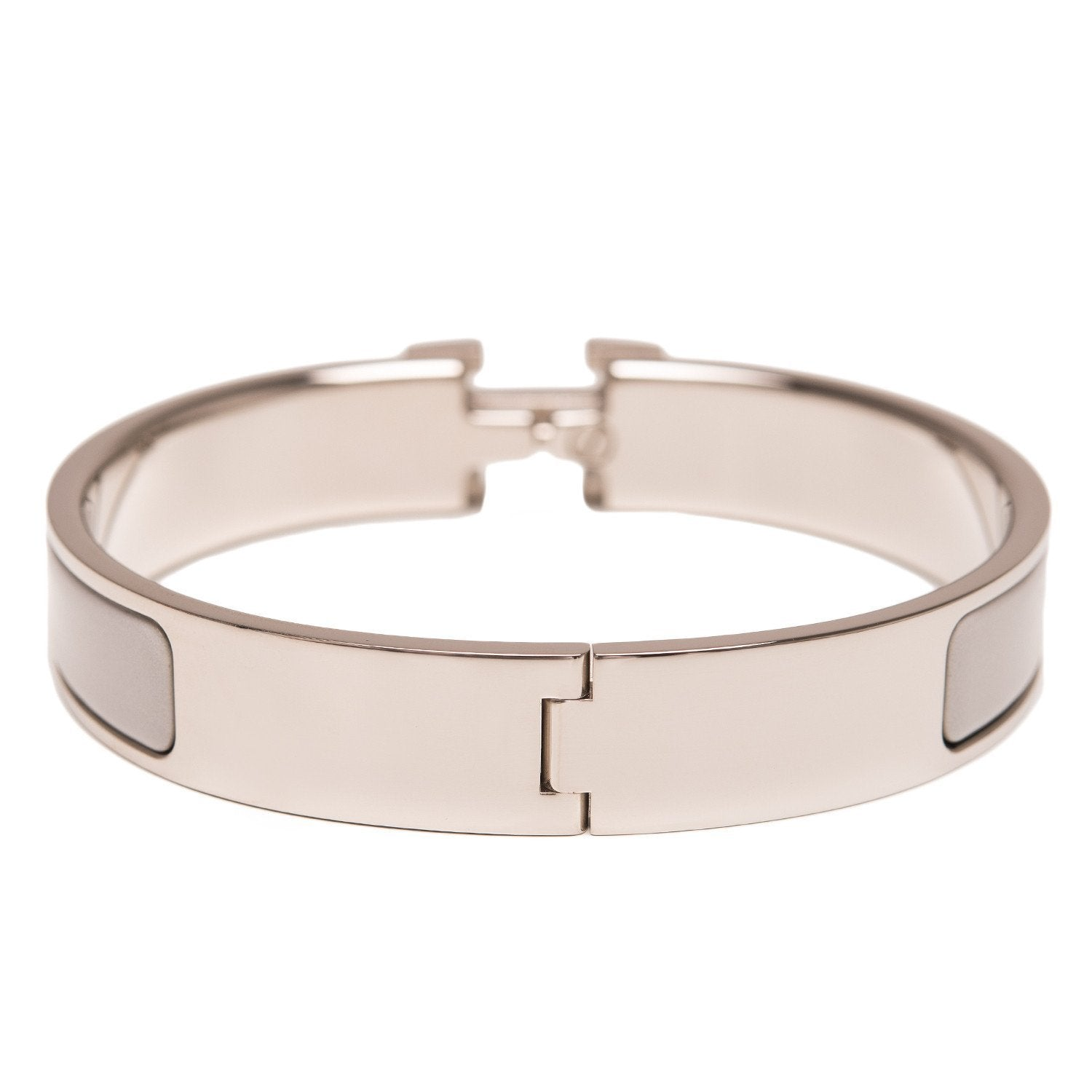 Hermes Grey On White Enamel H Clic Clac Narrow Bracelet Pm Accessories