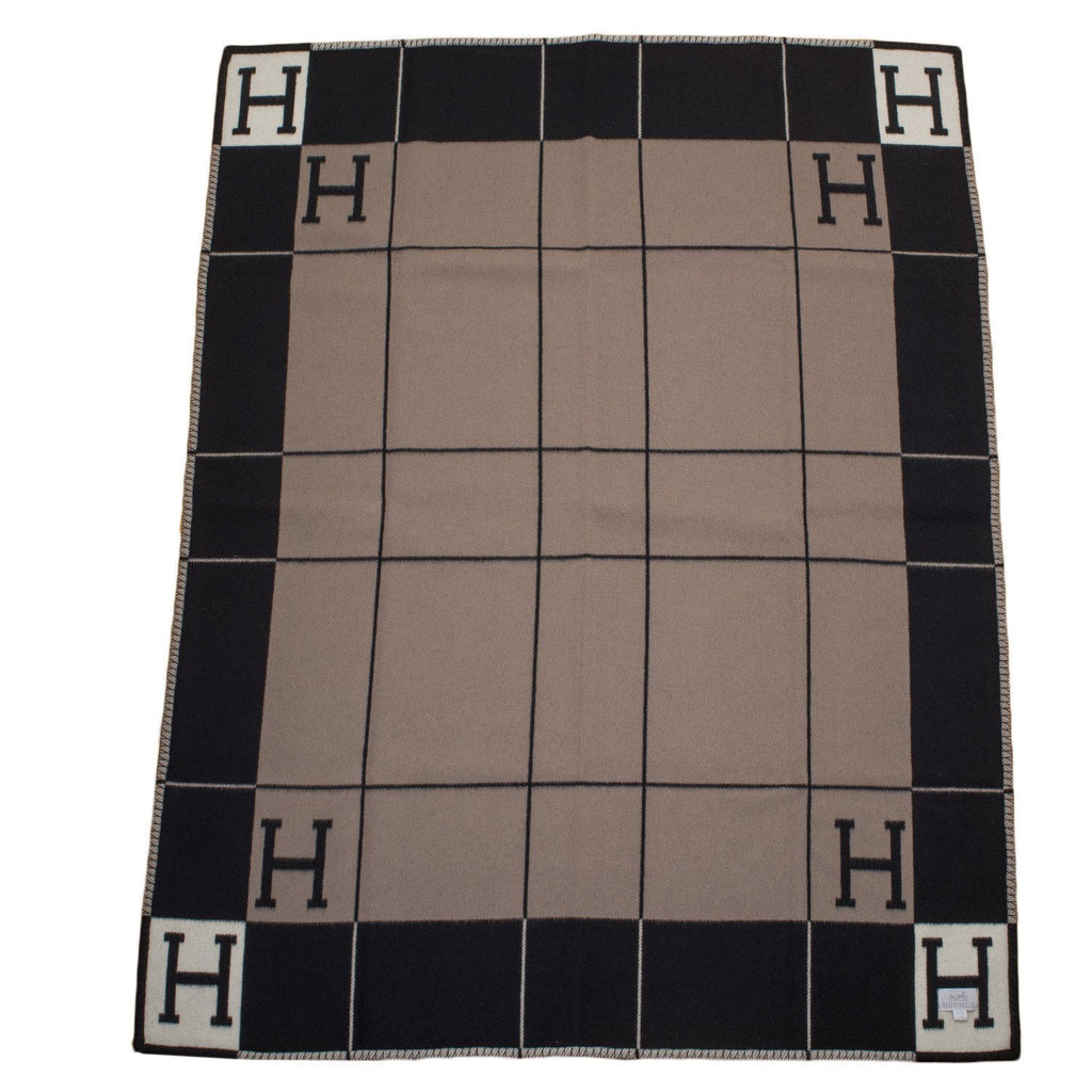 Hermes Avalon Iii Ecru And Grey Blanket