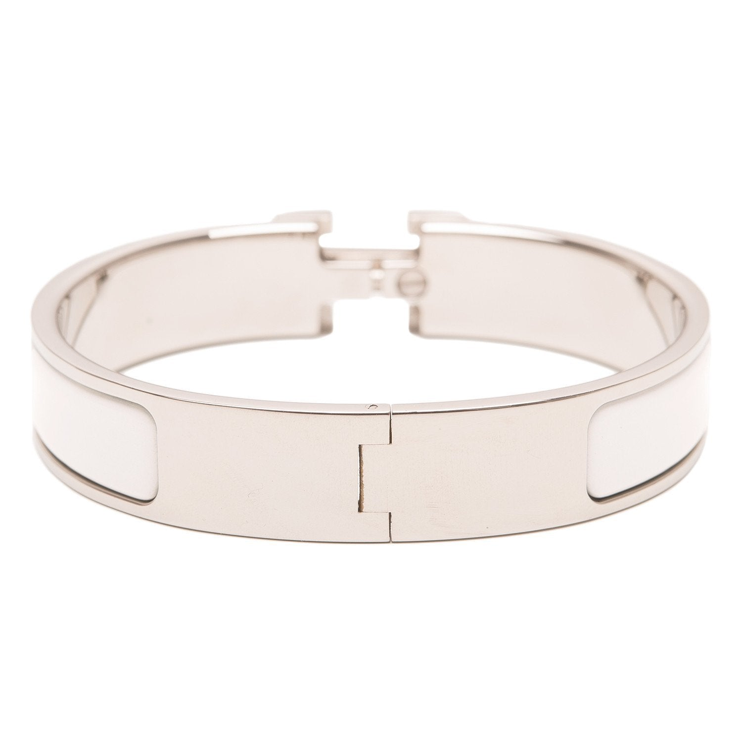 Hermes White Enamel H Clic Clac Narrow Bracelet Pm Accessories