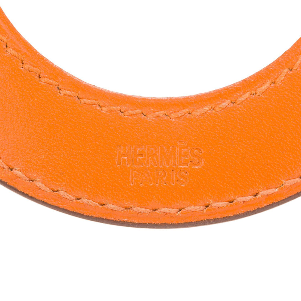 Hermes Orange Box Calfskin Magnifying Glass Pendant Loupe Necklace Accessories
