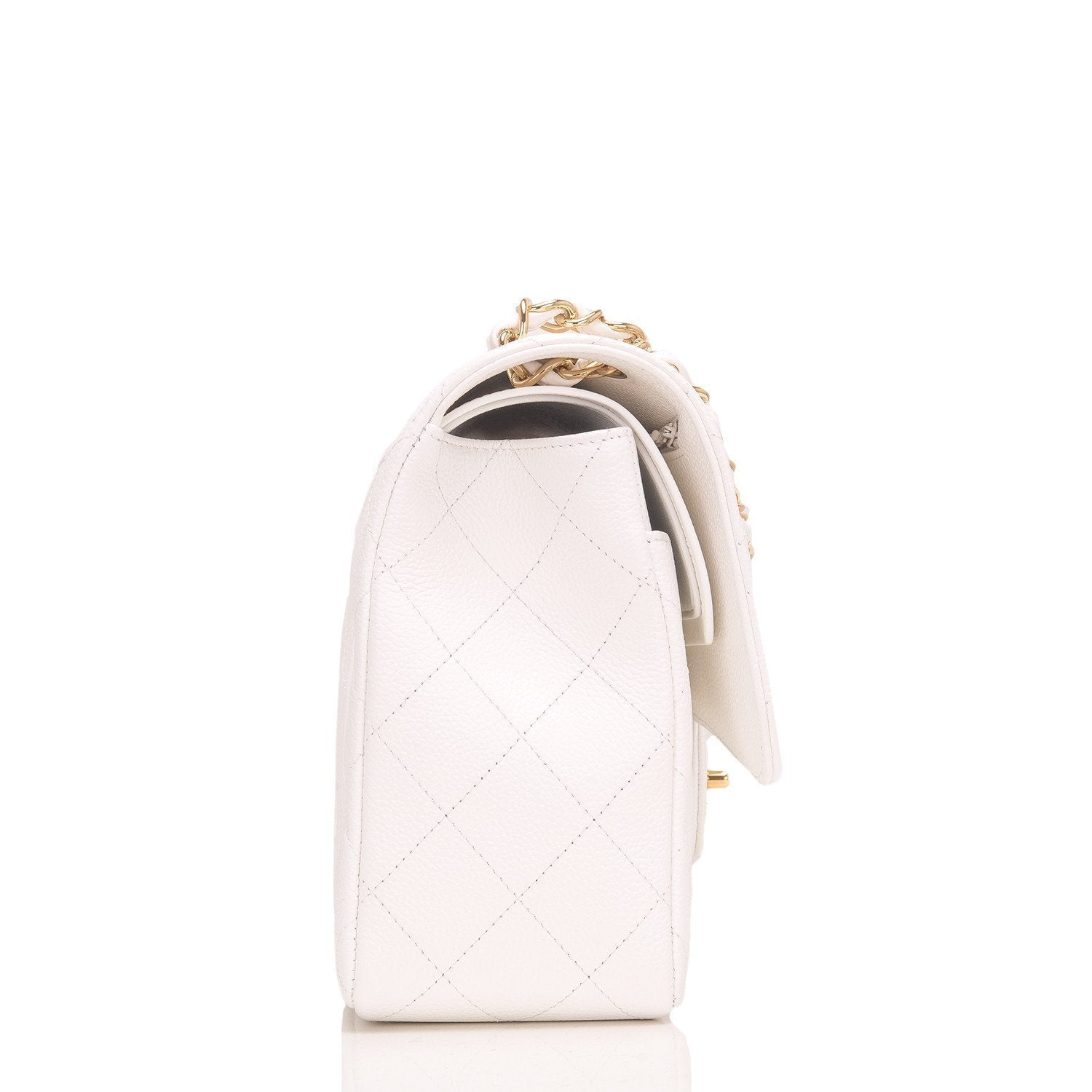 Chanel White Quilted Caviar Jumbo Classic Double Flap Bag Handbags