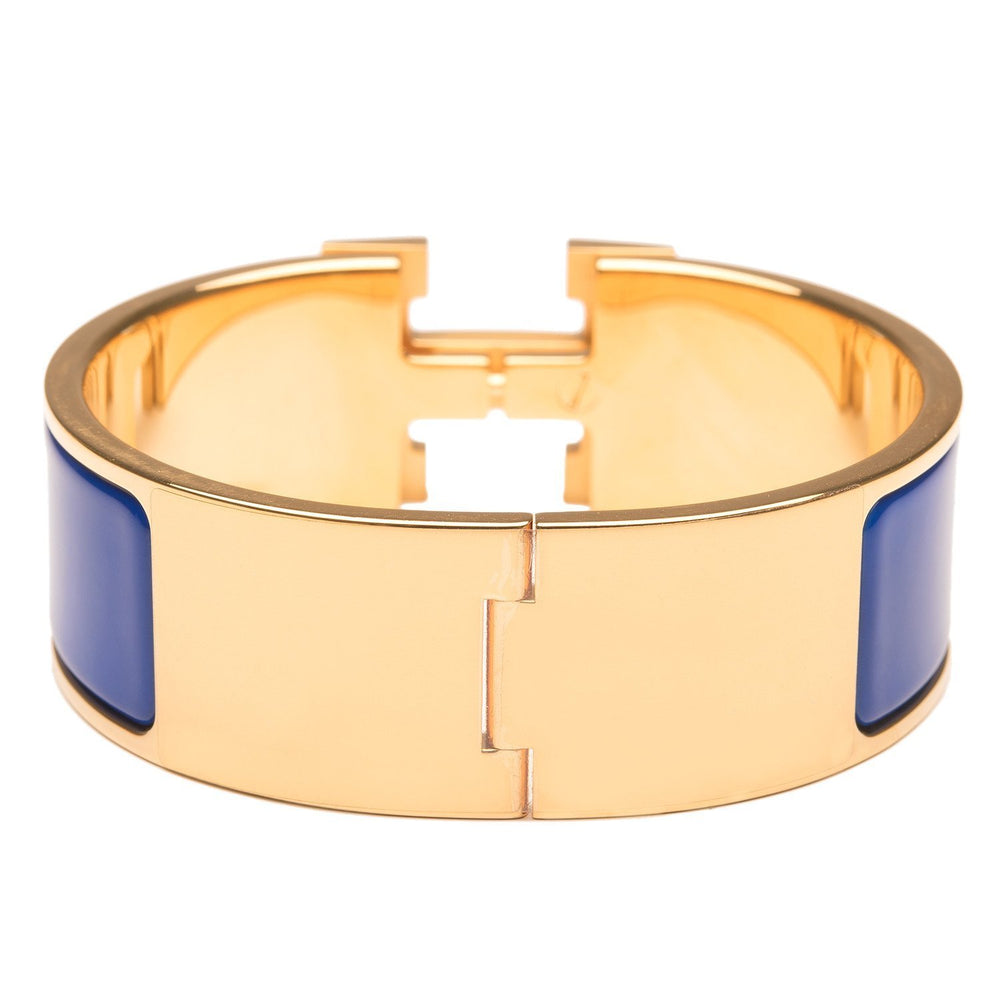 Hermes Royal Blue Clic Clac H Wide Enamel Bracelet Pm Accessories