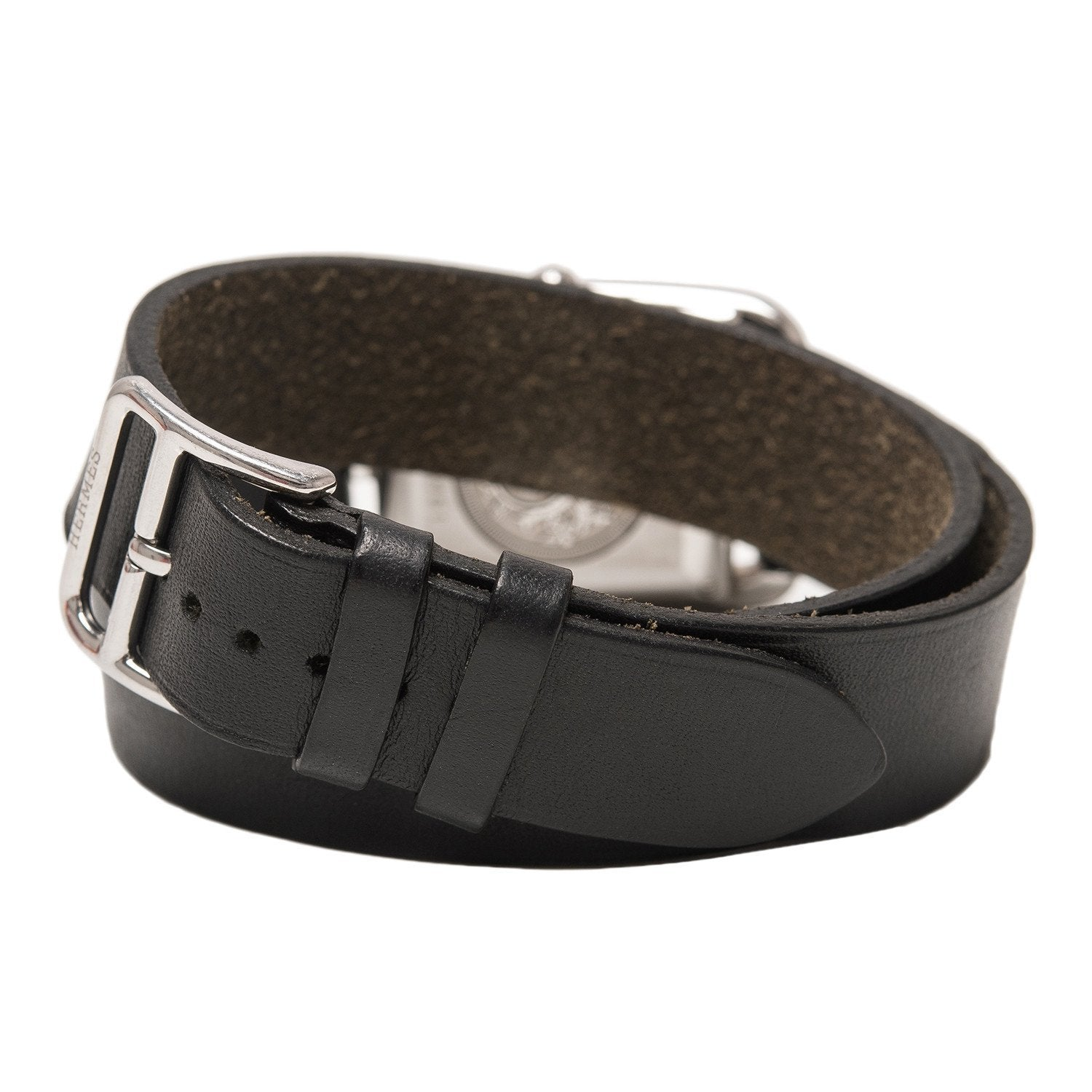Hermes Cape Cod Watch Gm Black Barenia Leather Double Tour Band Preloved Excellent Accessories